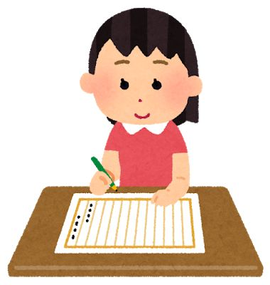 作文を書く女の子