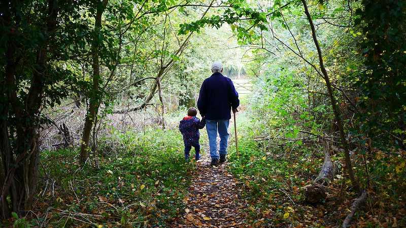 森を歩く祖父と孫