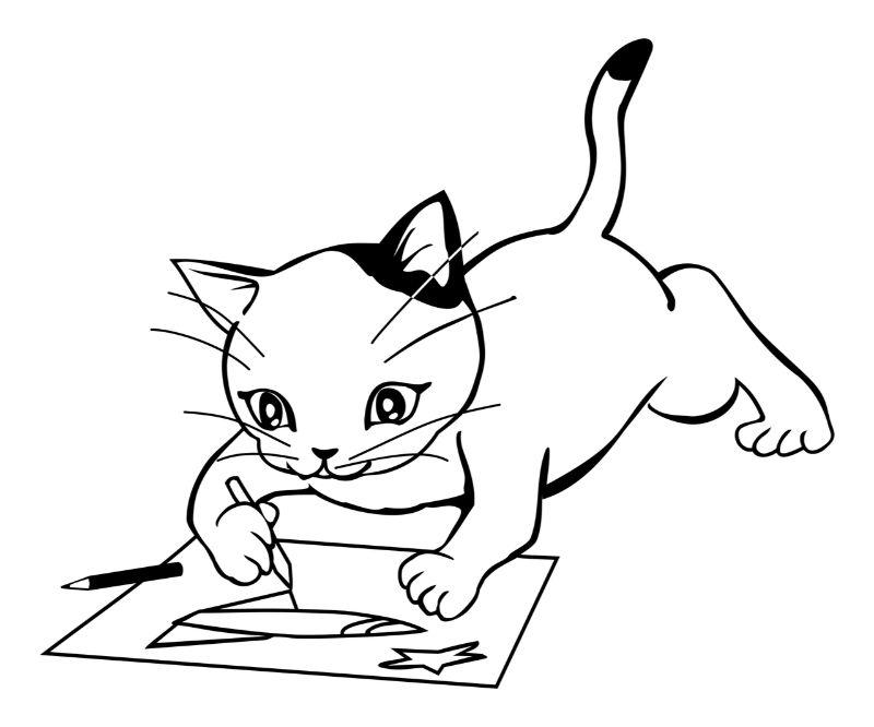 絵を描く猫のイラスト