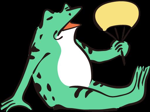 うちわを持つカエル