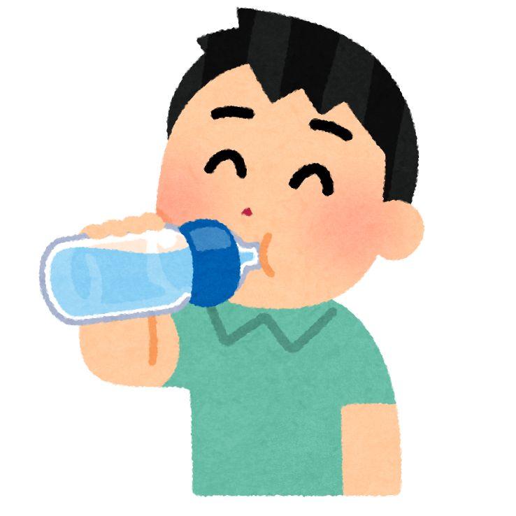 ペットボトルを飲む